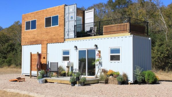 Familys Two-Story Shipping Container Tiny Home