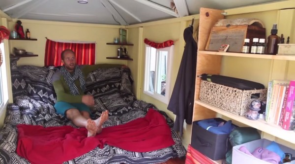Man Simplifies into Off-Grid Micro Cabin Life in California 005