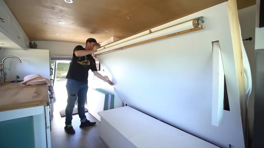 Short School Bus Conversion with a Murphy Bed 001