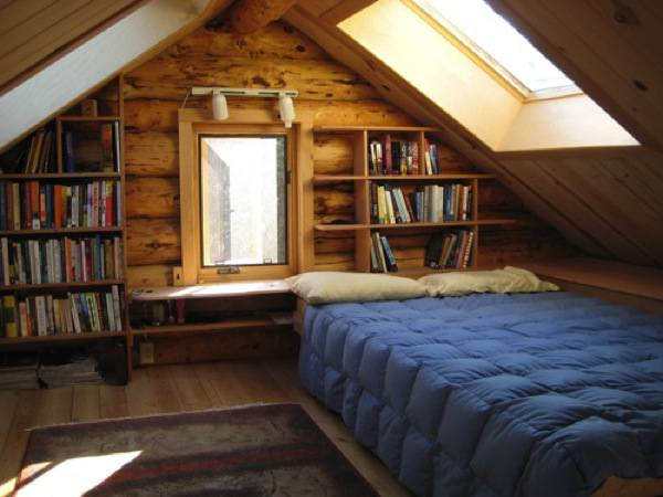 Loft Bed Room with Skylights and Storage