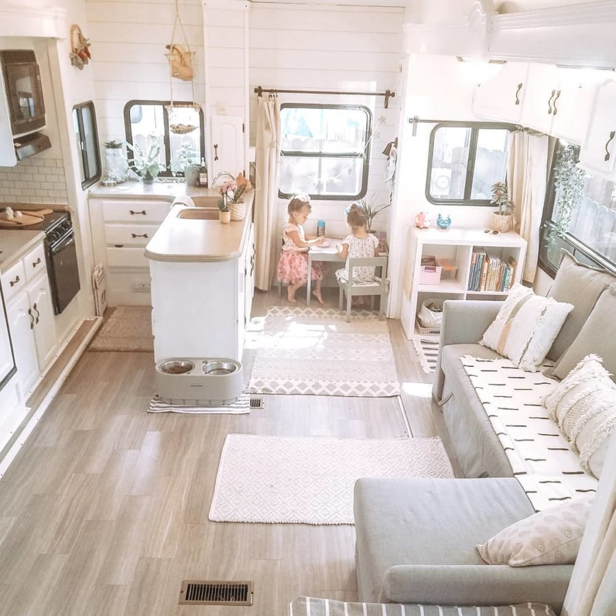 Twinning in Their 5th Wheel: Family of Four's Renovated RV Life!